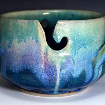 Blue Pottery Yarn Bowl . Unique Handmade pottery Knitting Bowl.  Blue and green Glaze