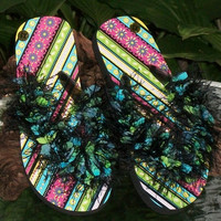 SPECIAL - Girls Flip Flops with Yarn Embellishment - Spring and Summer Fashion Accessory - Ready to Ship