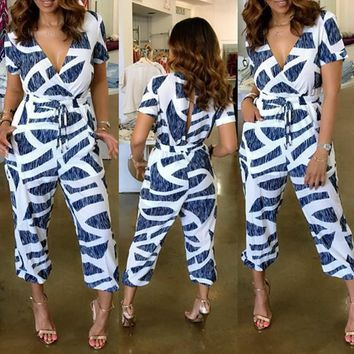 Blue Geometric Pockets Cut Out Drawstring Waist Fashion Nine's Jumpsuit