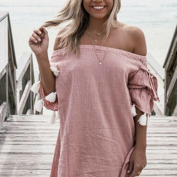 Come Back Pink Tassel Trim Off The Shoulder Dress