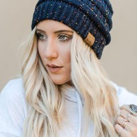 Knitted Confetti Beanie - Navy
