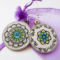 White Wooden Earrings,  Handpainted Mandala OOAK Earrings Jewelry, Om Yoga Spiritual Earrings Jewelry,  Mantra Meditation Boho Zen Jewelry