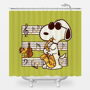 Music is Happiness Shower Curtain