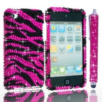 iPod Touch 4th Generation Case - Bling Zebra Print Cover for Apple iPod Touch 4 / 1 Bling Stylus Pen / 1 ECO-FUSED Microfiber Cleaning Cloth (hot pink/black)
