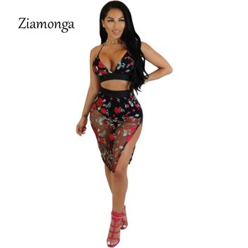Ziamonga Sexy Two Pieces Clothes Floral Bodycon Dress Hollow Out Spaghetti Strap Bandage Dress Club Wear Print High Waist Dress