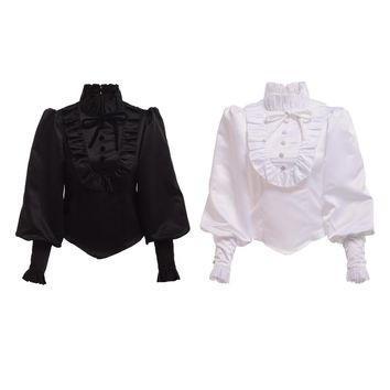 Women Vintage Royal Princess Victorian Blouse Renaissance Medieval Long Sleeve Ruffled Jabot Lolita Shirt White/Black