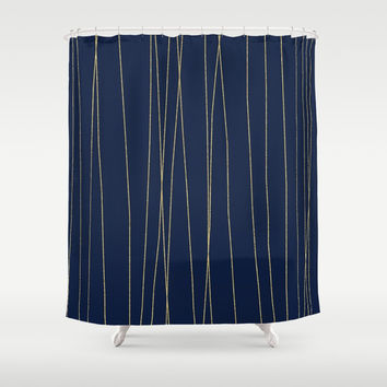 Navy Gold Stripes Shower Curtain by Colorful Art