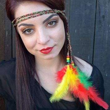 Rasta Feather Headband #B1013