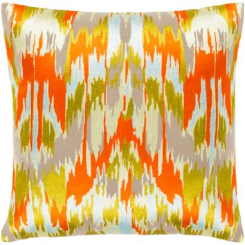 Ara Pillow ~ Bright Orange, Butter, Lime, Pale Blue, Taupe, Back: Taupe