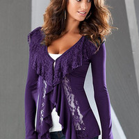 Purple Long Sleeves Ruffled Lace Spliced Top