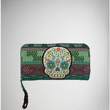 Tribal Sugar Skull Zip Wallet - Spencer's