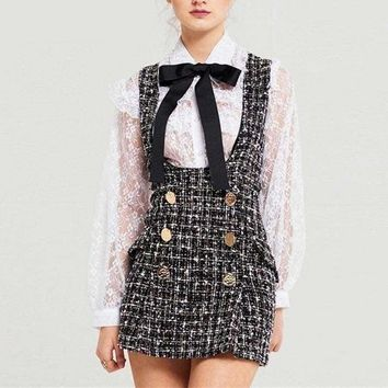 Tweed Vest Dress Double Breasted Overalls 2 Piece Set Ruffles Bow Shirt Lace Top+Plaid Streetwear