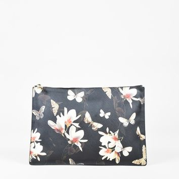 "Givenchy Black Multicolor ""Saffiano"" Leather Floral Top Zip Clutch Bag"