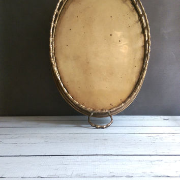 Large Brass Tray/ Vintage Brass Bamboo Tray/ Vanity Tray/ Chinoiserie / Hollywood Regency Decor/ Cocktail Tray