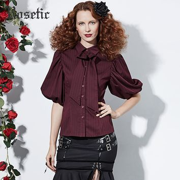 Rosetic Gothic Vintage Shirt Women Loose Lantern Sleeve Bow Fashion Tops Sexy Retro Office Lady Preppy Casual Goth Autumn Blouse