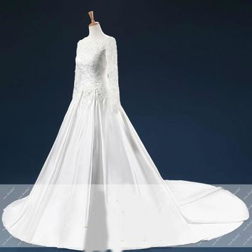 Sequins Beaded Appliques Long Sleeves Wedding Dresses Train Open Back Wedding Gowns