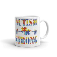 Autism Awareness Coffee Mug - Gift for her Autism Strong Support Puzzle Piece & Weights Educational Cup Proud Mom Coffee Mug