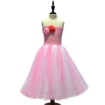 Tutu Flower crochet Dress Girls Dresses 2017 Spring Summer Children's Clothing Lovely Princess Baby Girls clothes Holiday Party