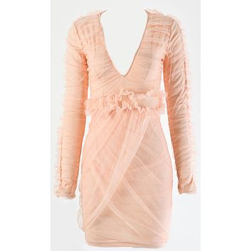 Living For Love Peach Sheer Mesh Ruched Ruffle Long Sleeve V Neck Cross Wrap Bodycon Mini Dress