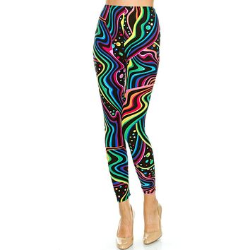 Women's PLUS Colorful Psychedelic Pattern Printed Leggings