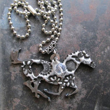 Running Horse with Heart Necklace