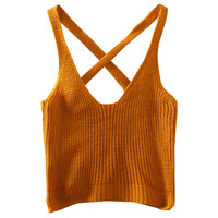 Solid Back Cross Knit Crop Top