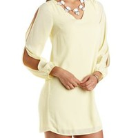 Cold Shoulder Chiffon Shift Dress by Charlotte Russe - Pale Yellow