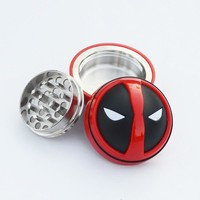 New Deadpool Style Metal&Plastic Tobacco 3 Layers Weed Herb Grinder Smoking Pipe Cigarette Accessories Dia 52MM Drop Shipping