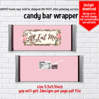Instant Download, Alice in wonderland , Candy Bar Wrappers, chocolate bar wrapper printable, non-editable NOT CUSTOMIZABLE