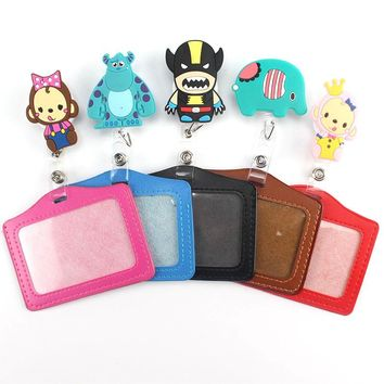 Lovely Cartoon Animals Retractable Badge Reel  Level Style Student Nurse Exihibiton ID Name Card Badge Holder Office Suppli
