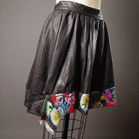 Black Vegan Leather Skirt - Up-cycled Black Skirt - Rocker girl - Vegan Leather Skirt -Up-cycled Vegan Leather Skirt