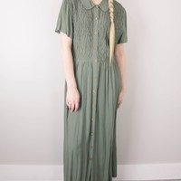 Vintage 90s Neutral Olive Green Maxi Dress