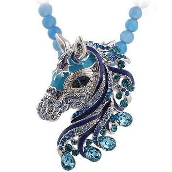 New Fashion Western Statement Style Women Elegant Link Chain Pendant Party Choker Horse Rhinestones Necklace Jewelry for Women