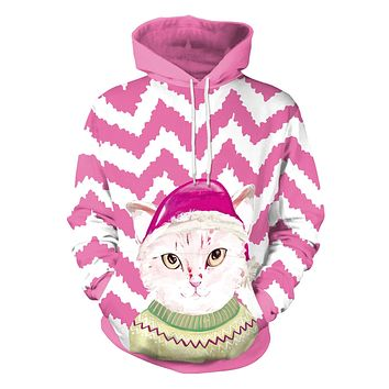 Cat with Hat Cartoon Digital Print Women Christmas Hoodie