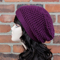 Crochet Slouchy Womens Hat in Grape Purple // hats for women // crochet hats // beanie hat