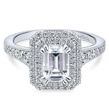 14K White Gold 1.71cttw Vintage Inspired Double Halo Emerald Cut Diamond Engagement Ring