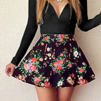 Black V- Neck Long Sleeved Dress with Floral Printed Skirt