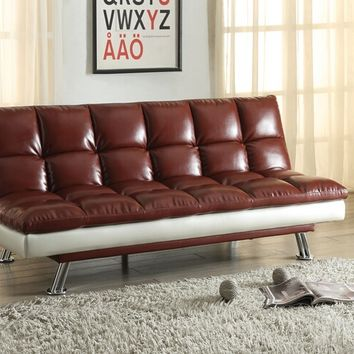 Baka Collection tow tone dark red and silvery grey faux leather upholstered futon sofa bed