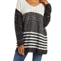 Black/White Mixed Stitch Cable Knit Sweater by Charlotte Russe