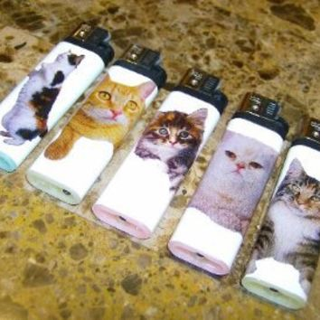 Lot of 5 Cute Kitty Cat Kittens Disposable Lighters New