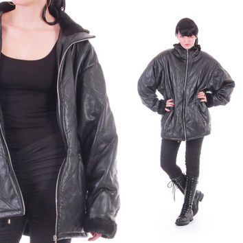 Quilted Black Leather Anorak Faux Fur Coat Drawstring Waist Long Goth 80s 90s Vintage Clothing Winter Outerwear Womens Size Large