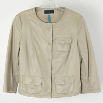 Piazza Sempione Beige Leather 3/4 Sleeve Snap Front Jacket Top Blouse IT 42 US 6