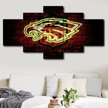 Canvas Printed 5 Panels HD Printed Philadelphia Eagles Sports Logo Wall Art Picture for Living Room Modern Home Decor