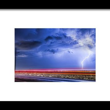 Drive By Lightning Strike Framed Print