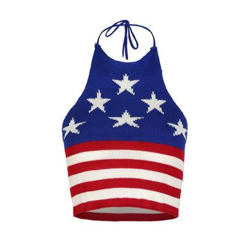 Summer Fashion Women Sexy National Flag Print halter Sleeveless Knit Crop Top Vest