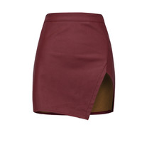 Burgundy Asymmetric Hem PU Slim Skirt