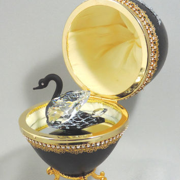 Black Swarovski Swan in Decorated Emu Egg Music Box Egg plays Swan Lake Emu Egg Ornament Art and Home Decor Faberge Style Decorated Egg