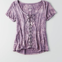 AEO Soft & Sexy Lace-Up T-Shirt , Purple