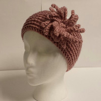 Chrysanthemum Crochet Flower Striated Head wrap/Ear warmer/ Headband Women/Teen Head Turban Spring/ Fall/ Winter Accessory