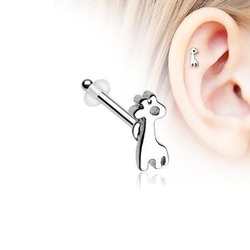 Adorable Dainty Giraffe Piercing Stud with O-Rings